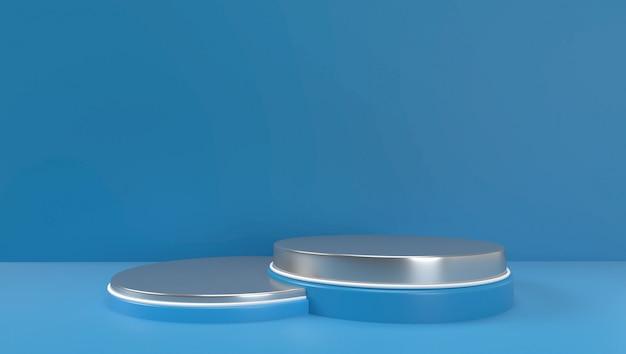 Renderingu 3d streszczenie tło geometryczne, scena, podium, scena i wyświetlacz. kolor niebieski i biały.