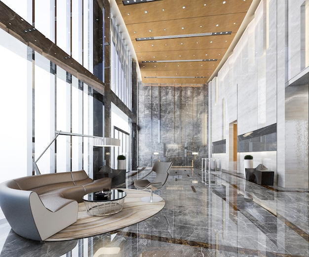 Renderingu 3d wejście do luksusowej i luksusowej hali recepcyjnej hotelu i restauracja z wysokim sufitem