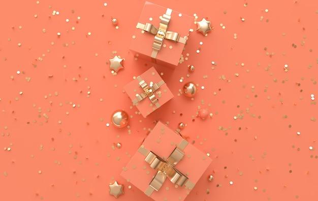 Renderować ilustrację z kulkami w pudełku konfetti w gwiazdki