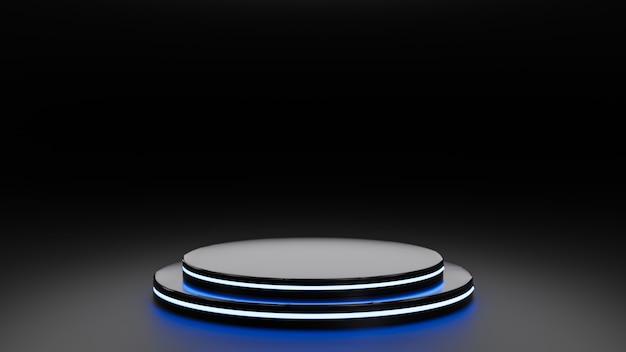 Renderowane 3d. stojak na wyświetlacz, stojak lub platformę, pusty stojak na produkty.