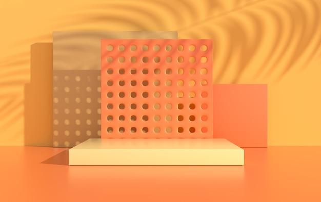 Renderowane studio z geometrycznymi kształtami podium do prezentacji produktu
