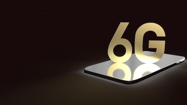 Renderowania 3d 6g tekst złoto powierzchni blask na smartfonie w ciemnym obrazie dla treści technologii mobilnych.