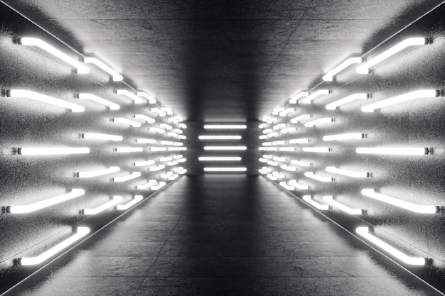 Renderowania 3d abstrac futurystyczny ciemny korytarz z neonów. świecące światło futurystyczna architektura