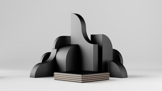 Renderowania 3d, abstrakcyjne czarne geometryczne bloki na białym tle.
