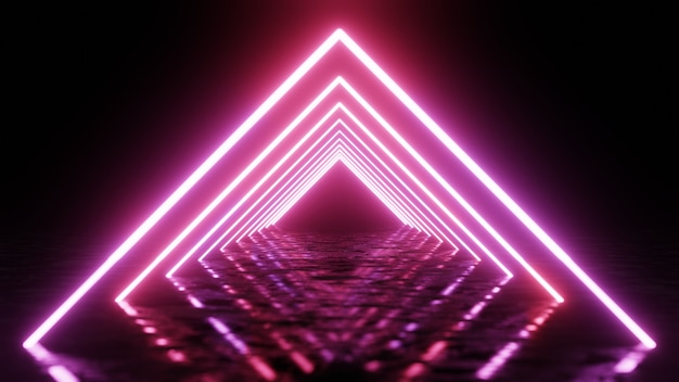 Renderowania 3d, abstrakcyjne tło geometryczne, fluorescencyjne światło ultrafioletowe, świecące neonowe linie, efekt głębi ostrości.