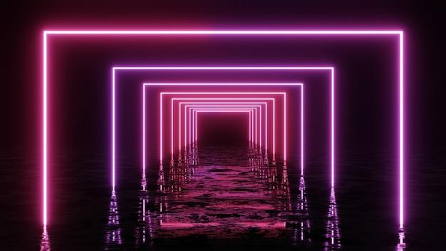 Renderowania 3d, abstrakcyjne tło geometryczne, fluorescencyjne światło ultrafioletowe, świecące neonowe linie.