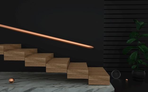 Renderowania 3d abstrakcyjne tło sceny z drewnianymi schodami
