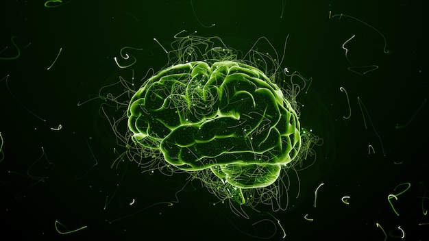 Renderowania 3d abstrakcyjne tło z mózgu, który otoczony jest cząstkami o skręconych trasach. ślady i cząstki symoizują idee.