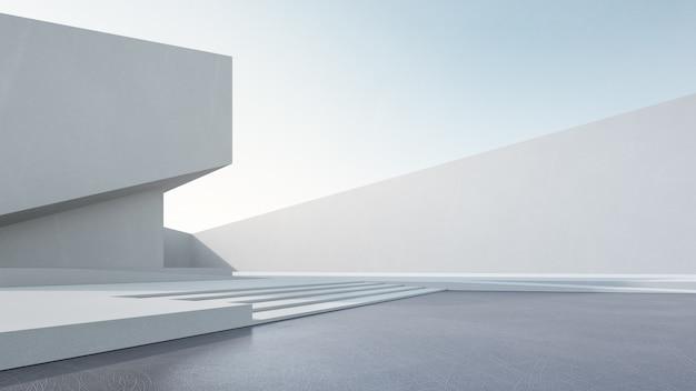 Renderowania 3d abstrakcyjnego budynku biały z błękitnym niebem.