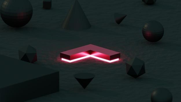 Renderowania 3d abstrakcyjny obiekt geometryczny czerwona strzałka w ciemną noc