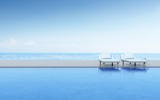 Renderowania 3d basenu i łóżka basenowego