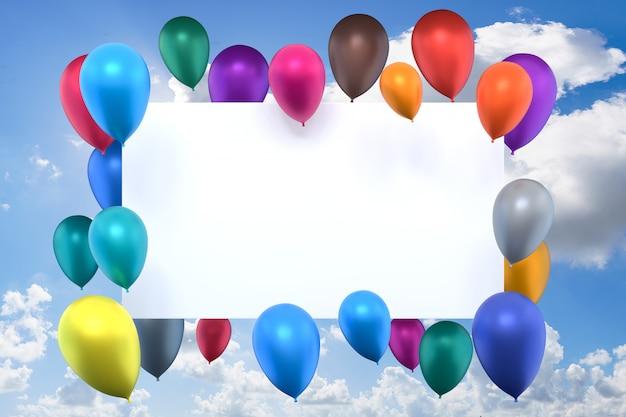Renderowania 3d, biała karta z wielokolorowe nadmuchiwane balony na tle niebieskiego nieba