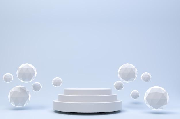 Renderowania 3d, białe podium minimalne streszczenie szary tło do prezentacji produktów kosmetycznych, streszczenie geometryczny kształt