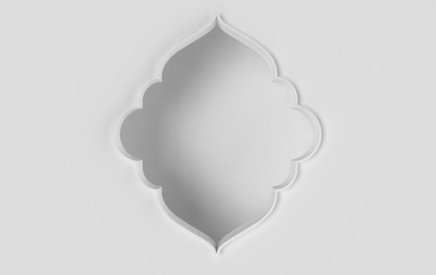 Renderowania 3d białe skomplikowane arabskie okno