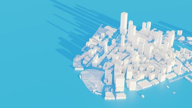 Renderowania 3d białe tło widoki miasta low poly