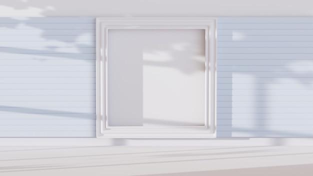 Renderowania 3d białego pokoju ozdobionego ramkami do wyświetlania produktów w tle. produkt pokazowy. makieta prezentacji pustej sceny.