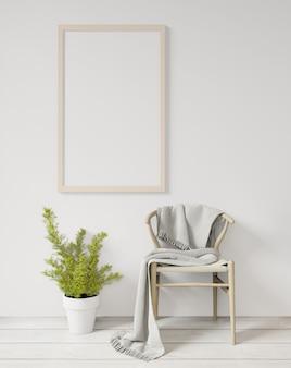 Renderowania 3d biały makieta ramki plakatowej na białej ścianie, drewnianej podłodze, krześle i roślinach, surowy betonowy mur