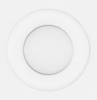 Renderowania 3d. biały okrągły kształt na szarym tle ściany.