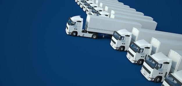 Renderowania 3d białych ciężarówek na niebieskiej powierzchni, widok z lotu ptaka