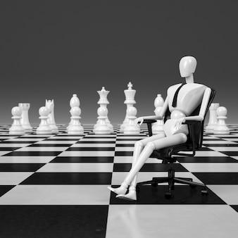 Renderowania 3d biznesmen siedzi na krześle lider figury szachowej