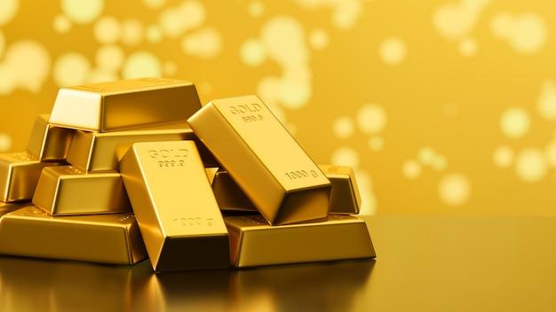 Renderowania 3d błyszczące sztabki złota ułożone w tle bokeh z miejsca na kopię