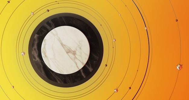 Renderowania 3d boże narodzenie, biały i czarny marmurowy piedestał na żółtym tle otoczonym bombkami i złote pierścienie. streszczenie minimalne pojęcie