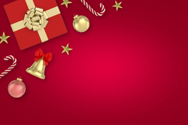 Renderowania 3d boże narodzenie powierzchni czerwony prezenty pudełko, słodycze, dzwony, gwiazda, bombki na czerwonej powierzchni
