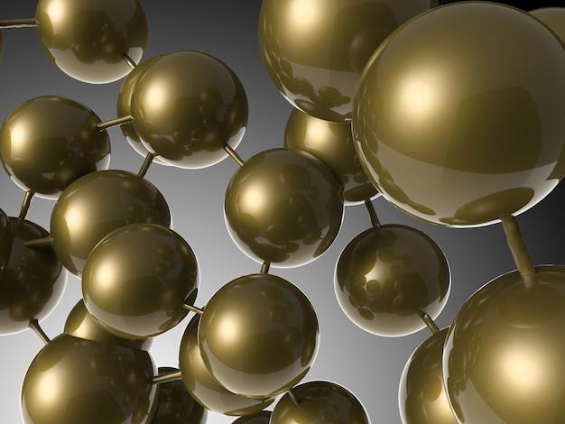 Renderowania 3d brązowa okrągła struktura molekularna
