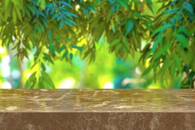 Renderowania 3d, brązowy marmurowy stół z naturą w tle. możesz używać do wyświetlania produktów. lub dodaj własny tekst w przestrzeni