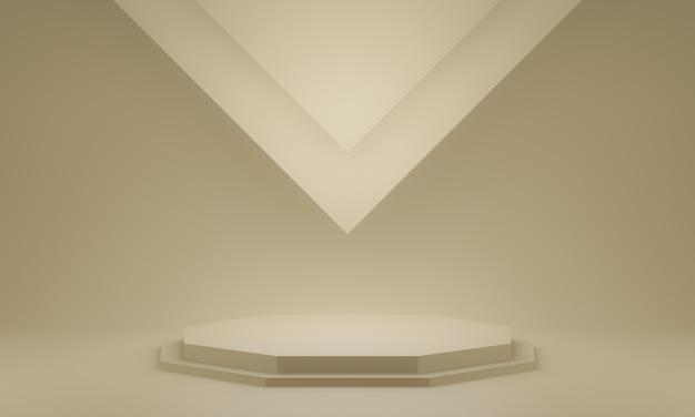Renderowania 3d brązowy stojak geometryczny