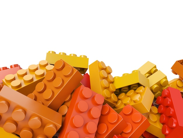 Renderowania 3d cegieł budowlanych zabawki w ciepłych odcieniach z dużą ilością miejsca na kopię
