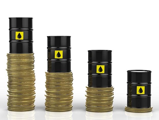 Renderowania 3d cena ropy spada wraz z beczkami ropy naftowej i złotymi monetami