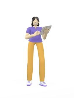 Renderowania 3d charakter azjatyckie dziewczyny z tabletem. pojęcie nauki, biznesu, lidera, startupu.