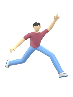 Renderowania 3d charakter azjatyckiego faceta, skoki i taniec, trzymając ręce do góry. pozytywna ilustracja