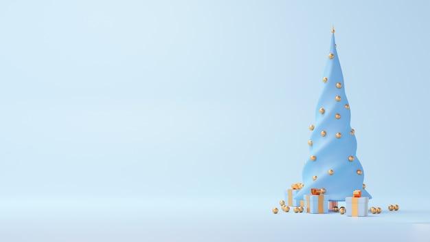 Renderowania 3d choinka z prezentami