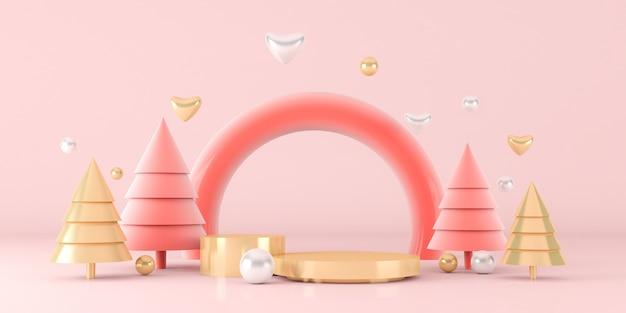Renderowania 3d choinki z różowym tłem