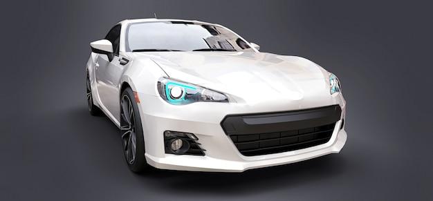 Renderowania 3d coupe biały mały samochód sportowy