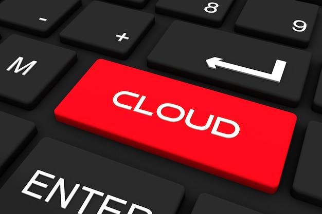 Renderowania 3d. czarna klawiatura z kluczem chmury, tło koncepcji biznesu i technologii