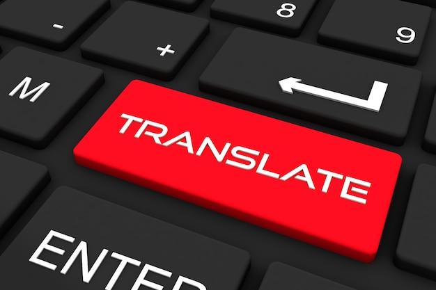 Renderowania 3d. czarna klawiatura z tłumaczeniem klucza, tła koncepcji biznesowej i technologii
