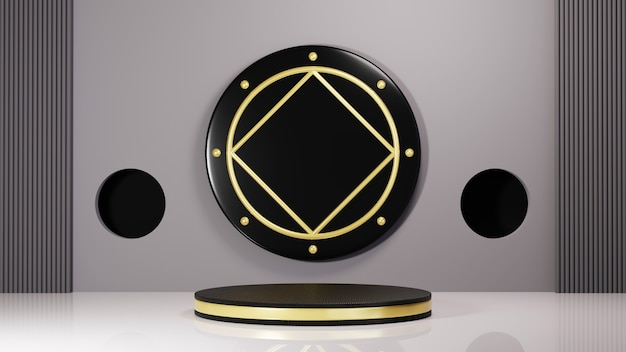 Renderowania 3d czarnego podium ze złotymi paskami do wyświetlania produktów na szarym tle pokoju. makieta produktu pokazowego.