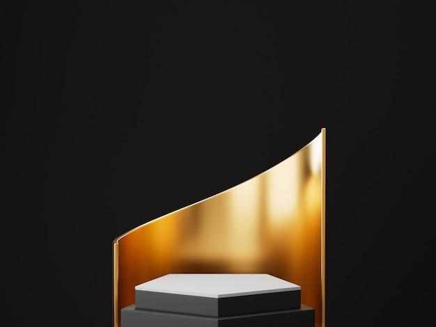 Renderowania 3d czarno -złotego cokołu na białym na czarnej ścianie, okrągła złota rama, tablica pamiątkowa, kroki cylindra, abstrakcyjna minimalna koncepcja, pusta przestrzeń, czysty design, luksusowy minimalistyczny