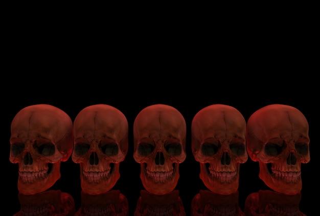 Renderowania 3d. czerwona krwawa ludzka głowa czaszki kości rząd z refleksji na czarno.