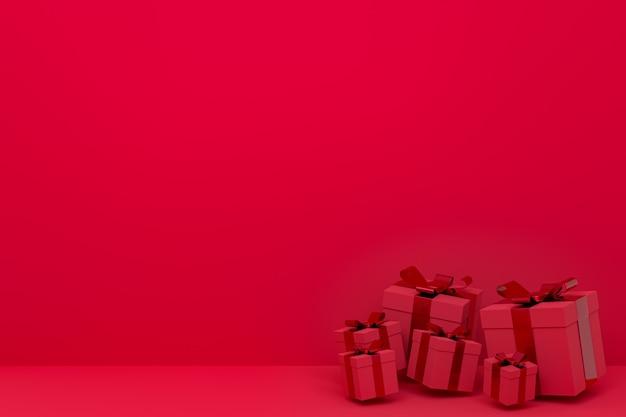Renderowania 3d, czerwone tło kolorowe realistyczne pudełko z kolorową kokardką