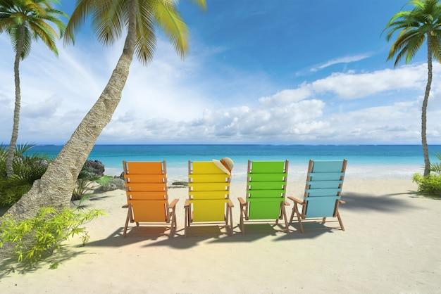 Renderowania 3d czterech kolorowych krzeseł na plaży