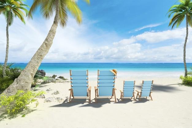 Renderowania 3d czterech krzeseł w dużych i małych rozmiarach na plaży
