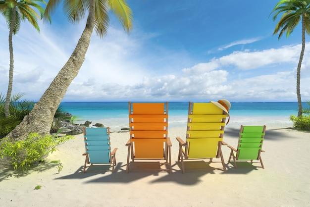 Renderowania 3d Czterech Krzeseł W Dużych I Małych Rozmiarach Na Plaży Premium Zdjęcia