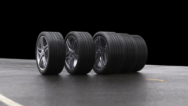Renderowania 3d cztery koła samochodu toczenia na czarnym tle