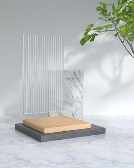 Renderowania 3d drewna podium i roślin.