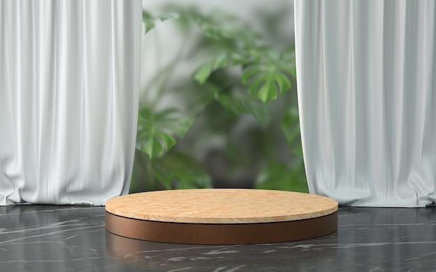 Renderowania 3d drewniane podium i roślin.