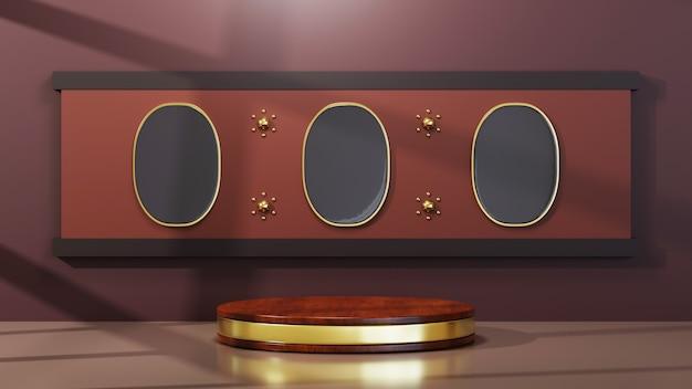 Renderowania 3d drewniane podium z tłem złotym paskiem. makieta produktu pokazowego.